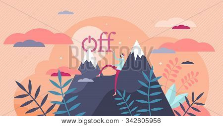 Offline Vector Illustration. Digital Detox In Flat Tiny Persons Concept. Freedom From Smartphones, S