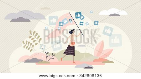 Catching Likes Vector Illustration. Thumbs Up In Flat Tiny Persons Concept. Social Media Symbols Wit