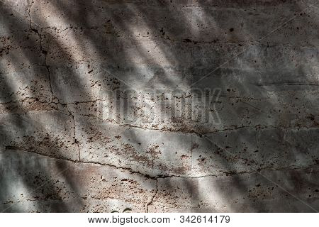 Abstract Background Of Red Brick Wall Has A Hiatus Or Crack, Texture Of The Brick Decorated On A Bri