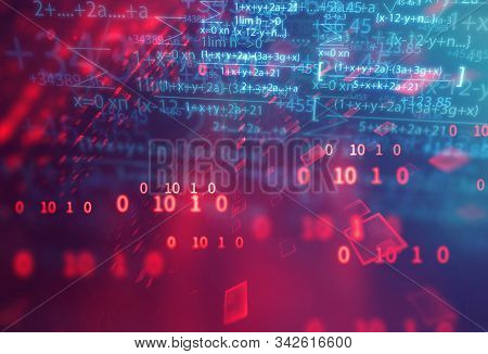 Science Formula And Math Equation Abstract Background. Concept Of Machine Learning And Artificial  I