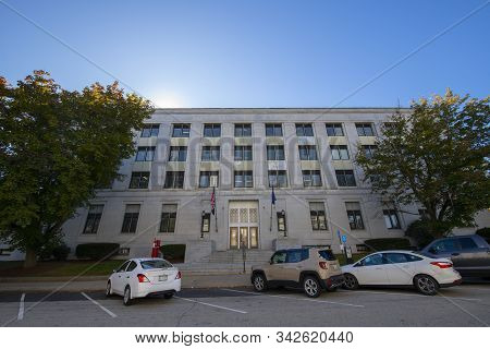 Concord, Nh, Usa - Sep. 30, 2019: New Hampshire State Office Building And State Of New Hampshire Tre