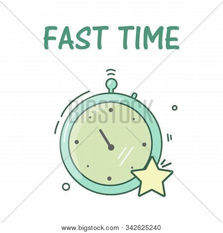 Stopwatch Fast Time Rush Hour Concept. Vector Illustration