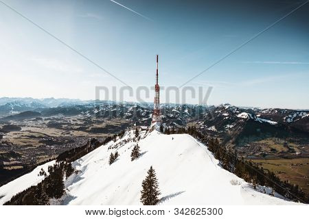 Summit of the Gruenten (Grünten) mountain in Bavaria, Germany. On the summit is a Gebirgsjäger monument, dedicated to German mountain troopers killed in action during the World Wars