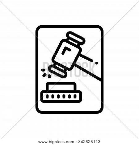 Black Line Icon For Adjudicate Justice Lawsuits  Tribunal  Hammer Proceeding Senten Decide Adjudge D