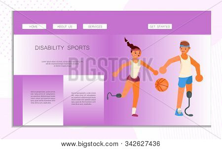 Landing Web Page Template Disability Sport. Prosthesis Users Man And Woman Play Basketbal. Disabled