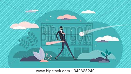 Play Hardball Vector Illustration. Business Strategy In Tiny Person Concept. Allegory Comparison Wit