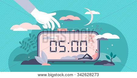 Snooze Vector Illustration. Work Or Sleep Postpone In Flat Tiny Persons Concept. Alarm Timer With Na