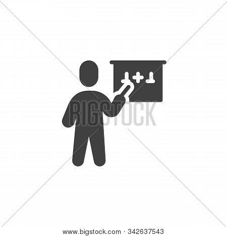 Mathematics Teacher Vector Icon. Filled Flat Sign For Mobile Concept And Web Design. Teacher Teachin