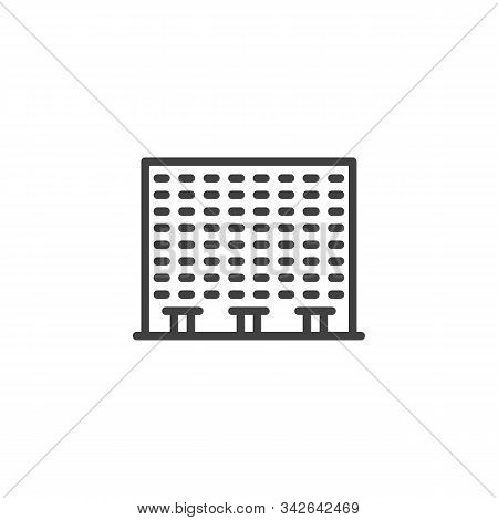 Townhouse Building Line Icon. Linear Style Sign For Mobile Concept And Web Design. Condo Building Ou