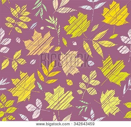 The Leaves Of The Trees, Seamless Pattern, Purple, Color, Shading, Vector. Yellow, Green And Pink Le