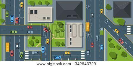 City Traffic Top View Flat Vector Illustration
