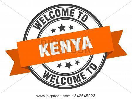 Kenya Stamp. Welcome To Kenya Orange Sign