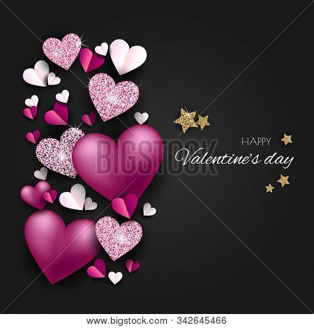 Valentine neon, valentine day, Valentines Day background, Valentine's day banners, Valentines Day flyer, Valentines Day design, Valentines Day with Heart on black background, Copy space text area, vector illustration. Elegant Happy Valentines day festive