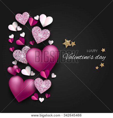 Valentine neon, valentine day, Valentines Day background, Valentine's day banners, Valentines Day flyer, Valentines Day design, Valentines Day with Heart on black background, Copy space text area, vector illustration. Elegant Happy Valentines day festive