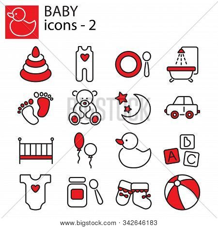 Web Icons Set - Baby Toys, Feeding And Care