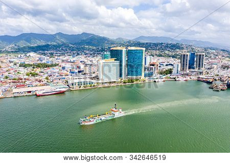 Aerial View Of City Of Port Of Spain, The Capital City Of Trinidad And Tobago. Skyscrapers Of The Do