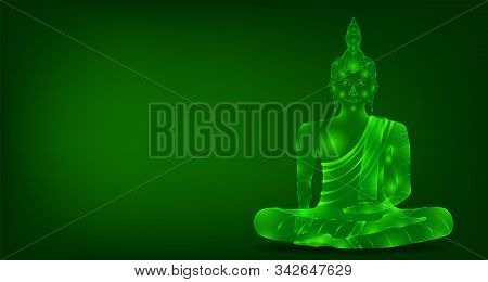 Luxury Green Emerald Crystal Monk Phra Buddha Sitting Meditation For Pray Concentration Composed Rel