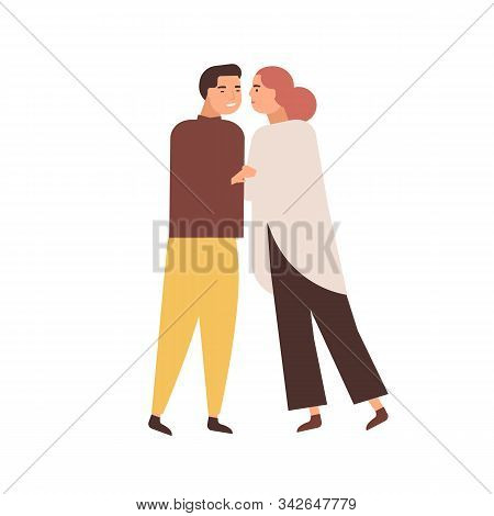 Cuddling Couple Flat Vector Illustration. Embracing People, Middle-aged Husband And Wife. Relation H