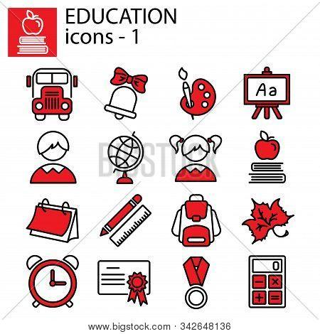 Web Line Set. Education (school) Vector Sign