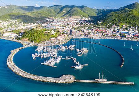 Arial View Of Marigot, The Main Town And Capital In The French Saint Martin, Sharing The Same Island