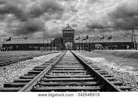 Rail Entrance To Concentration Camp At Auschwitz Birkenau In Oswiecim, Poland - April 7, 2018
