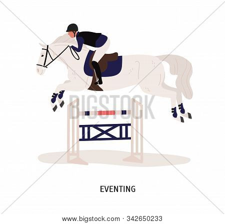 Eventing, Equestrian Competition Flat Vector Illustration. Horse Rider, Horseman Cartoon Character.