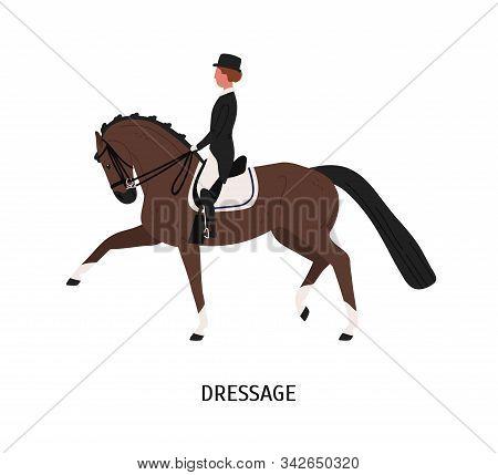 Dressage, Horseback Riding Flat Vector Illustration. Equestrienne Cartoon Character. Hoss Training,