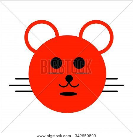 Mouse Icon, Vector Mouse Icon. Red Mouse Icon And White Background. Eps10 Mouse Icon. Illustrated Mo