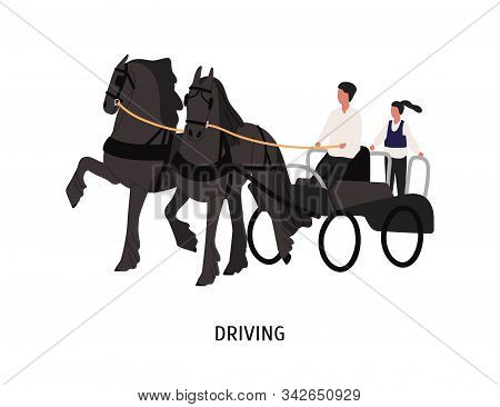 Driving Horse Carriage Flat Vector Illustration. Chariot Driver, Coachman And Passenger Cartoon Char