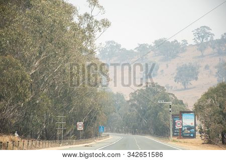 Canberra, Australia 2019-12-28 Australian Bushfire: Smoke Haze From Bushfires Over The Canberra Road