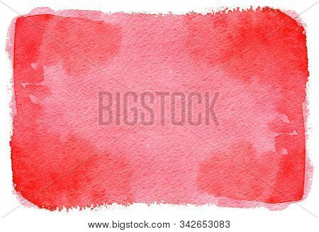 Abstract Red Painted Watercolor Texture As Background