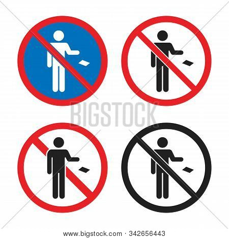 No Littering Icon Set, Do Not Throw Garbage Sign