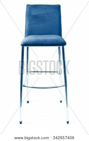 Shot Of Stylish Modern Bar Stool. In Trendy Classic Blue Colors