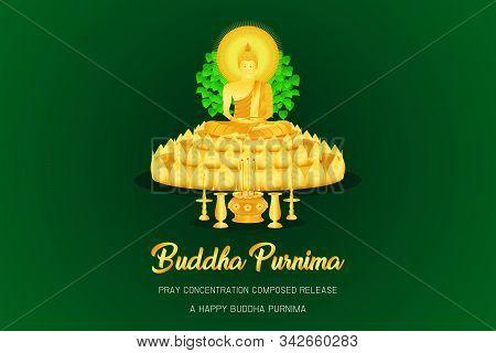 Happy Buddha Purnima Monk Phra Buddha On 3 Three Floor Incense Candle Vase Base Front - Back View Pr