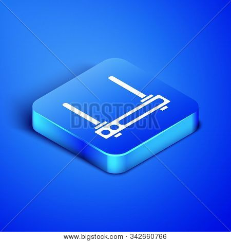 Isometric Router And Wi-fi Signal Symbol Icon Isolated On Blue Background. Wireless Ethernet Modem R