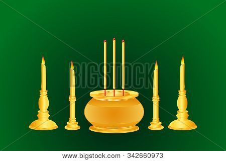 Incense Candle Base Thai India Chinese Gold Color Vector Illustration Eps10