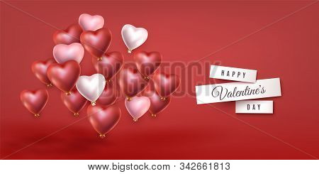 Group Of Soaring Red White Pink Helium Balloons On A Red Background. Valentines Day, Christmas, Birt