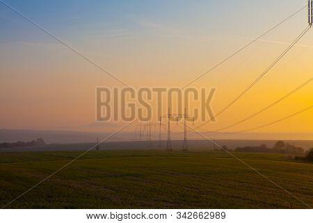 Hazmburk Castle In The Morning Mist.central Bohemian Highlands, Czech Republic. Central Bohemian Upl