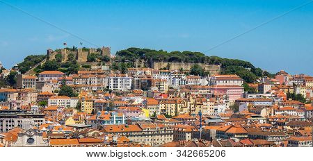 Portugal, Panoramic View Of Lisbon In Summer, Lisbon Fortress Hill, Portugal Lisbon Medieval Castle,