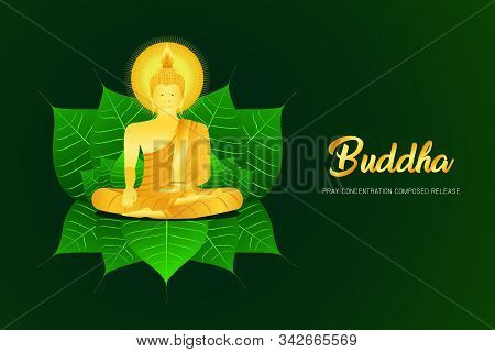 Monk Phra Buddha Pray Sit On Pho Leaf Concentration Composed Release Religion Culture Faith Vector I
