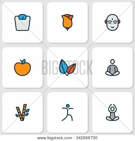 Meditation Icons Colored Line Set With Bamboo, Meditation, Flower And Other Meditation Elements. Iso