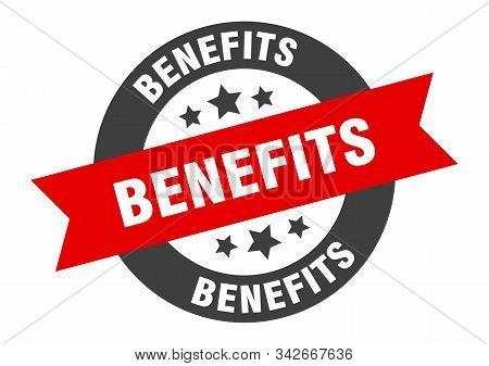 Benefits Sign. Benefits Black-red Round Ribbon Sticker