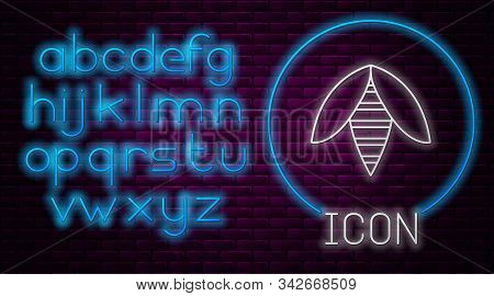 Glowing Neon Line Bee Icon Isolated On Brick Wall Background. Sweet Natural Food. Honeybee Or Apis W