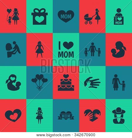 Mothers Day Icon Design Concept. Set Of 20 Such Elements As Woman, Perambulator And I Love Mom. Beau