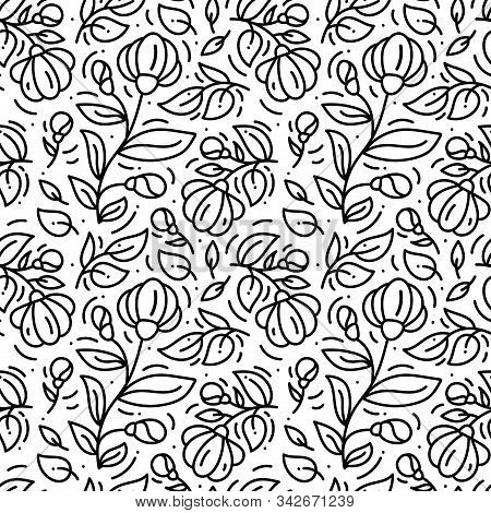 Floral Monoline Seamless Pattern Background, Textile Printing. Hand Drawn Endless Vector Illustratio