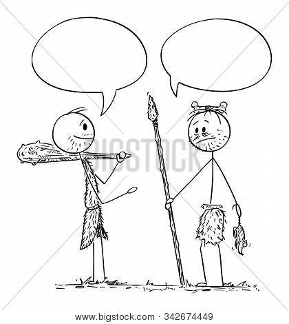 Vector Cartoon Stick Figure Drawing Conceptual Illustration Of Two Cavemen, Prehistoric, Native Or I