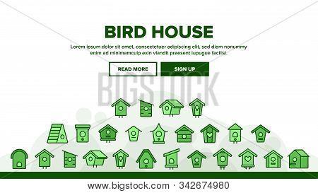 Bird House Landing Web Page Header Banner Template Vector. Different Style Wooden Bird House, Shelte