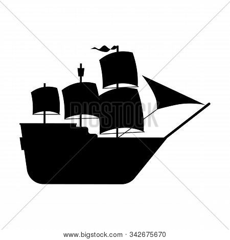 Black Silhouette Of A Sailing Ship. A Simplified Illustration Of A Galleon Ship. Vector Isolated Ill