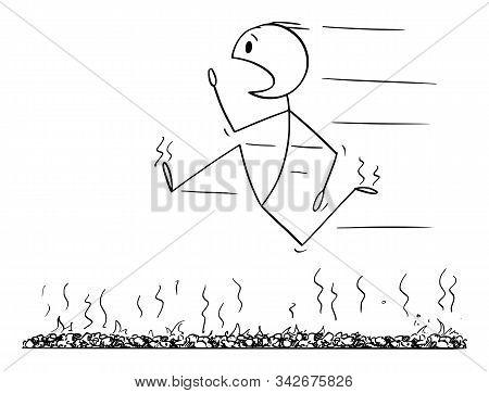 Vector Cartoon Stick Figure Drawing Conceptual Illustration Of Firewalk, Man Or Businessman Running