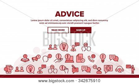 Advice Help Assistant Landing Web Page Header Banner Template Vector. Human Silhouette And Call, Int